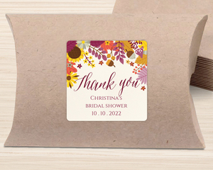 Colorful Autumn Floral Favor Label