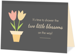 Two Little Blossoms Twins Baby Shower Invitation