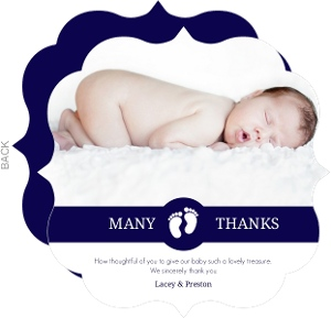 Navy And White Stripes Baby Shower Thank You Card