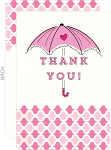 Pink Umbrella Baby Shower Thank You Card