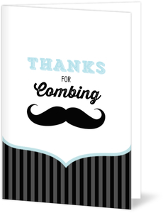 Blue And Black Moustache  Thank You Card