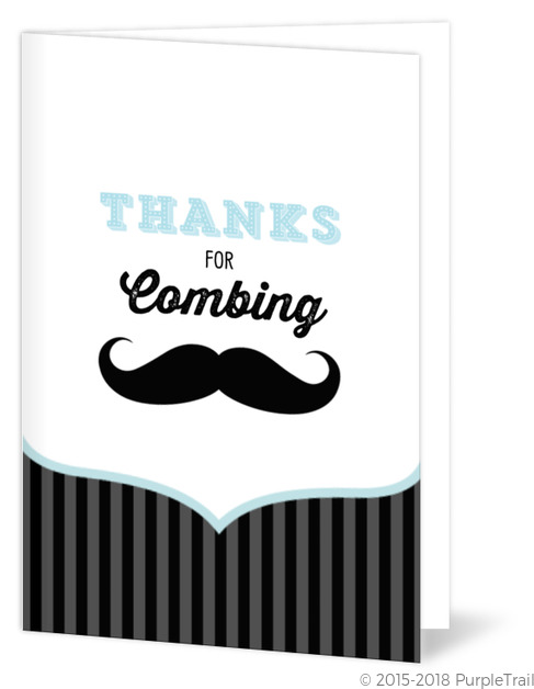 Blue And Black Moustache Thank You Card Baby Shower Thank You Cards