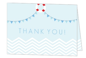 Blue Baby Chevron Nautical Baby Shower Thank You Card