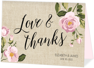 Vintage Burlap Floral Thank You Card