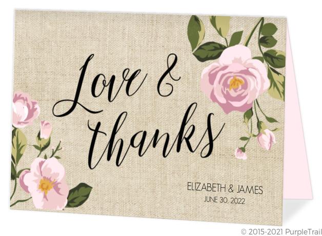 Thank You Wedding Cards.Vintage Burlap Floral Thank You Card
