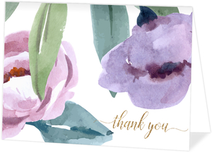 Soft Garden Flowers Personalized Thank You Card