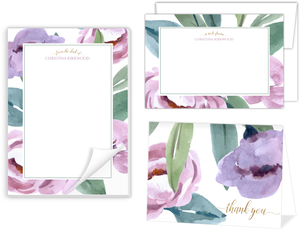 Soft Garden Flowers Stationery Set