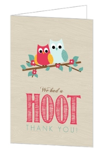 Rustic Wood Owl Hoot Housewarming Thank You Card
