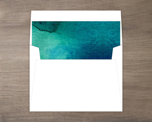 Bright Turquoise Watercolor Envelope Liner