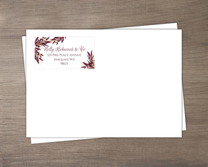 Burgundy and Faux Gold Foliage Business Envelope