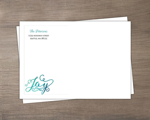 Bright Turquoise Watercolor Envelope