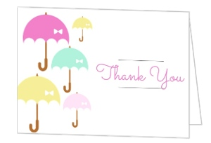 Umbrella Shower Baby Shower Thank You Card