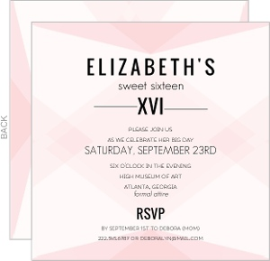 Modern Blush Pattern Sweet Sixteen Invitation