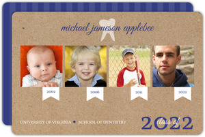 Navy Blue Kraft Timeline Dentist School Graduation