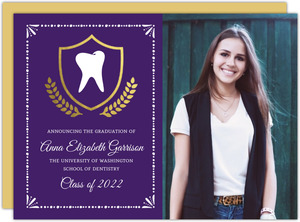Gold Foil Crest Dental School Graduation Invitation
