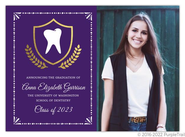 gold foil crest dental school graduation invitation dental school