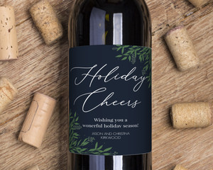 Delicate Winter Foliage Holiday Wine Label