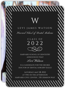 Silver Foil Stripe Frame Dental School Graduation Invitation