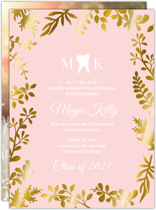 Faux Pink Foil Foliage Dental School Graduation Invitation