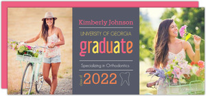 Gray and Pink Dental Graduation Invitation