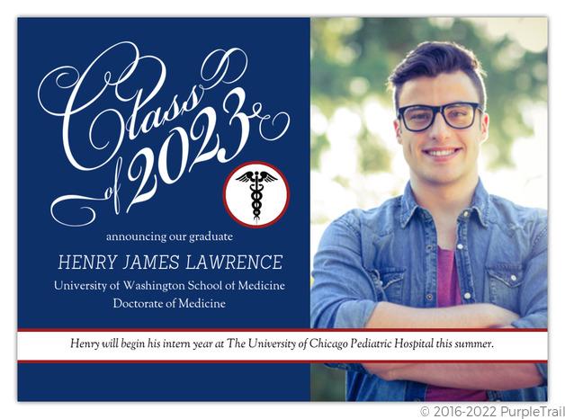 traditional navy medical school graduation announcement medical