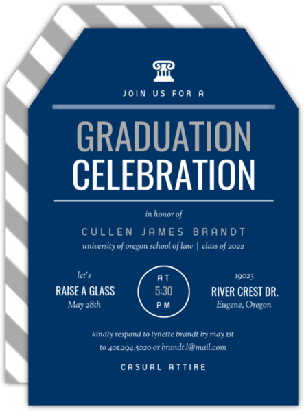 School Colors Typography Law School Graduation Invitation