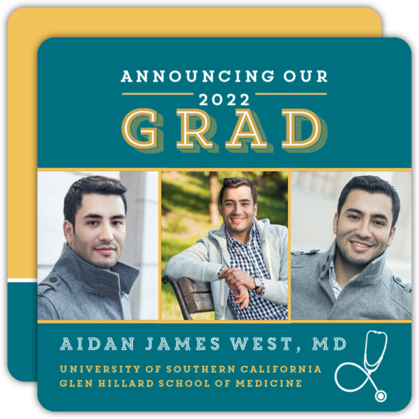 Black and Gold Medical School Graduation Announcement