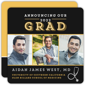 Graduation announcement cards grad photo announcements black and gold medical school graduation announcement filmwisefo