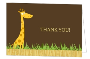 Safari Animals Shower Thank You Card
