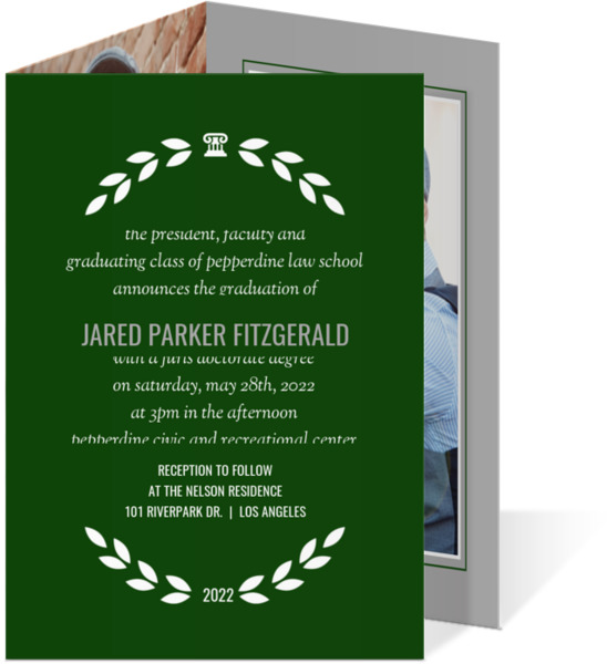 Simple Wreath Frame Law School Graduation Invitation