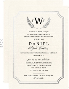 Formal Double Frame Silver Foil Medical School Graduation Invitation