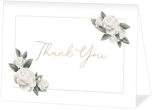 Elegant White Roses Blank Thank You Card
