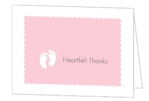 It S A Girl Pink Footprints Baby Shower Thank You Card