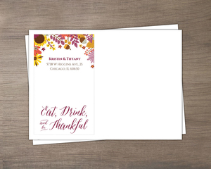 Colorful Autumn Floral Custom Envelope
