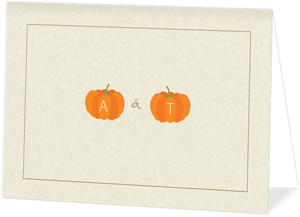 Rustic Pumpkins  Halloween Wedding Thank You Card