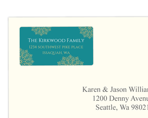 Turquoise and Gold Faux Glitter Address Label