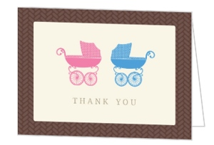 Blue And Pink Twins Shower Thank You Cards
