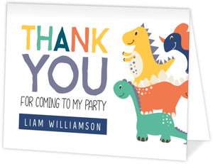 Party Like A Dinosaur Birthday Thank You Card
