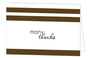 Sophisticated Brown Linen And Rattle Baby Shower Thank You Card