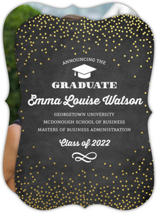 Gold Foil Confetti Chalk Graduate School Graduation Announcement