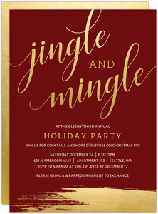 Sophisticated Faux Gold Foil Holiday Printable Party Invitation