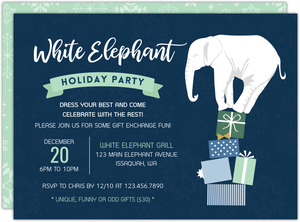White Elephant Gift Exchange Holiday Printable Party Invitation