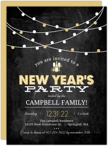 Festive Gold Lights New Years Printable Party Invitation