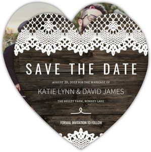 Rustic Woodgrain Lace Save The Date Announcement