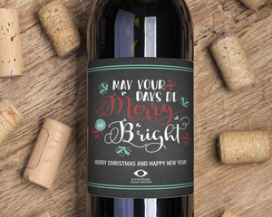 Vintage Chalkboard Merry and Bright Wine Label