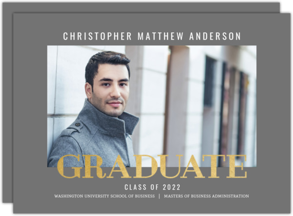 Modern Type Faux Foil Graduate School Graduation Announcement