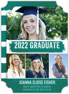 Teal Brushstroke Graduate School Graduation Announcement