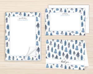 Watercolor Winter Trees Stationery Set