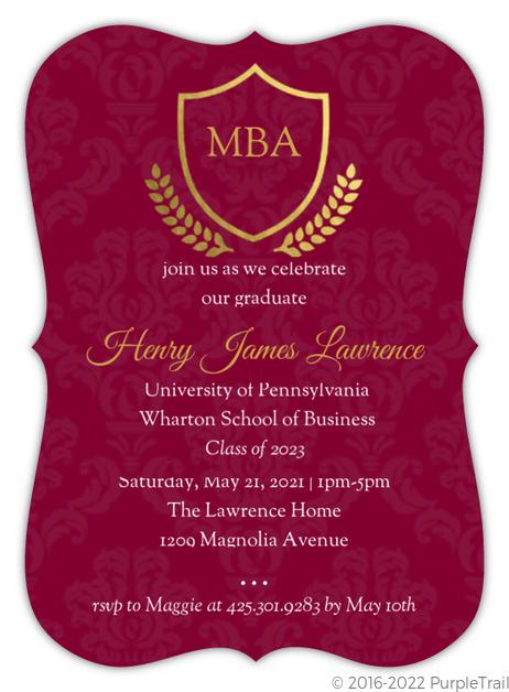 Burgundy gold foil crest graduate school graduation invitation burgundy gold foil crest graduate school graduation invitation filmwisefo