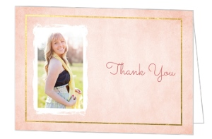 Gold Foil Pink Watercolor Graduation Thank You